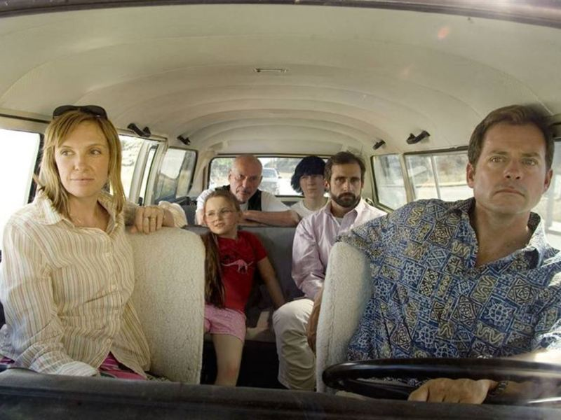 Toni Collette, Abigail Breslin, Alan Arkin, Paul Dano, Steve Carell, and Greg Kinnear in Little Miss Sunshine.