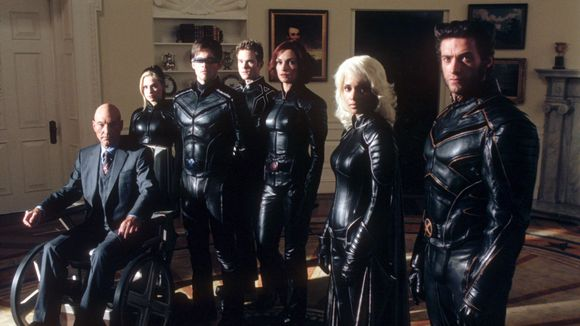 Patrick Stewart, Anna Paquin, James Marsden, Shawn Ashmore, Famke Janssen, Halle Berry, and Hugh Jackman in 20th Century Fox's X2: X-Men United.