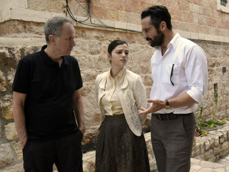 Avi Nesher, Joy Rieger, and Yuval Segal in a behind-the-scenes still from The Other Story.