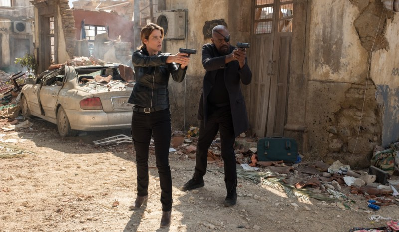 Maria Hill (Cobie Smulders) and Nick Fury (Samuel L. Jackson) in Columbia Pictures' Spider-Man: Far From Home