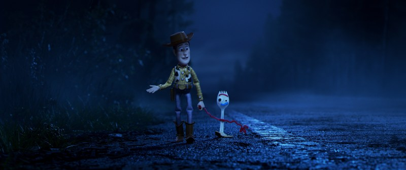Woody (Tom Hanks) and Forky (Tony Hale) in Disney-Pixar's Toy Story 4.