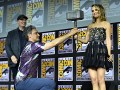(L-R) President of Marvel Studios Kevin Feige, Director Taika Waititi, and Natalie Portman of Marvel Studios' 'Thor: Love and Thunder' at the San Diego Comic-Con International 2019 Marvel Studios Panel in Hall H on July 20, 2019 in San Diego, California.