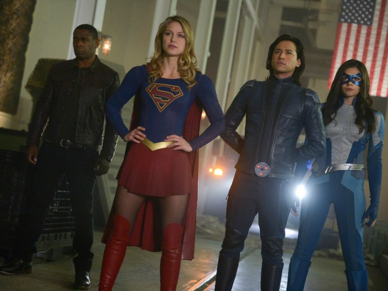 David Harewood, Melissa Benoist, Jesse Rath, and Nicole Maines in Supergirl