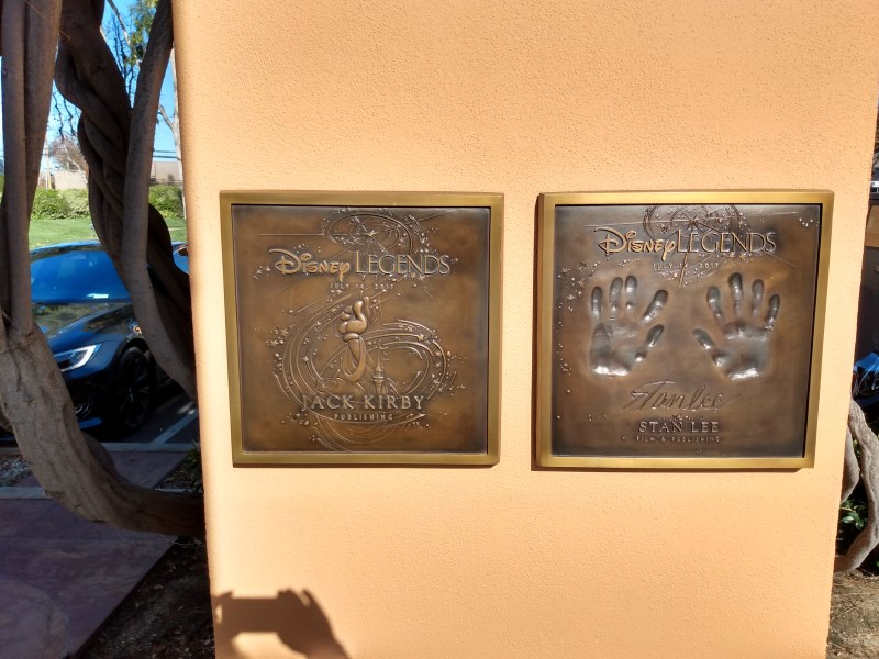 Stan Lee and Jack Kirby's plaques in the Disney Legends Plaza.