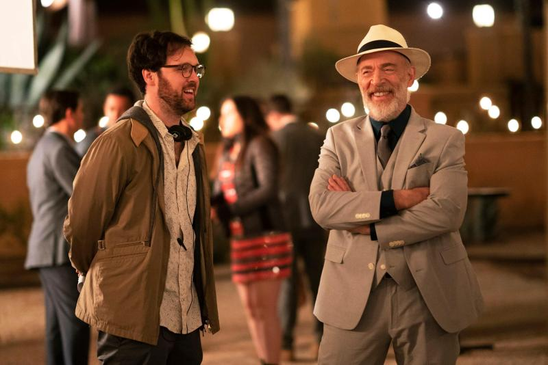 Max Barbakow and J.K. Simmons on the set of Palm Springs.
