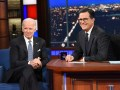 Joe Biden and Stephen Colbert on The Late Show with Stephen Colbert.