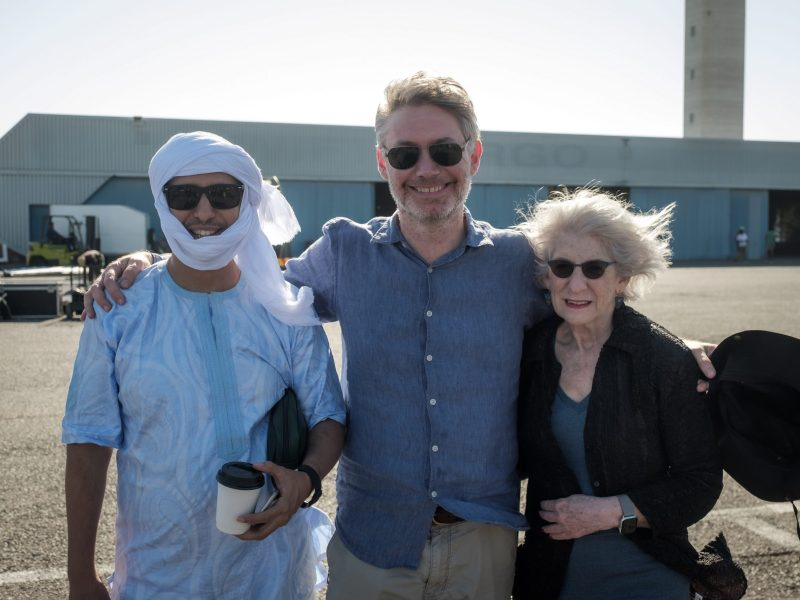 Mohamedou Ould Slahi (left) with the film's director, Kevin Macdonald, and Slahi's lawyer, Nancy Hollander
