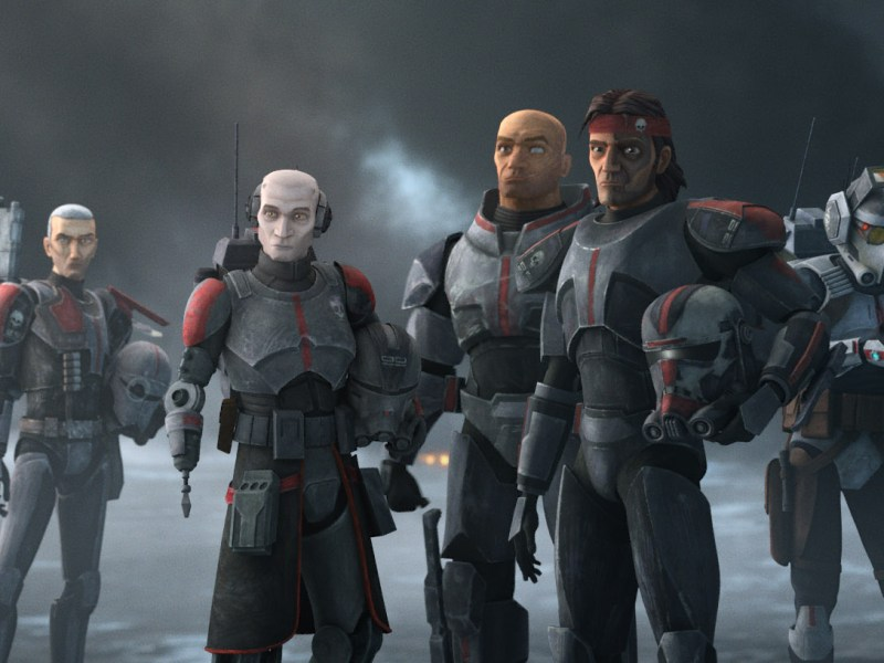 Crosshair, Echo, Wrecker, Hunter and Tech in a scene from Star Wars: The Bad Batch