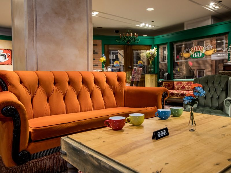 Central Perk Coffee Shop Orange Couch at The Friends Experience