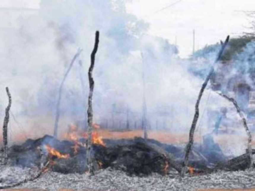 Houses that had been set on fire by members from a rival clan in Gunane location in Wajir county.