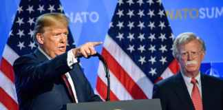 US President Donald Trump (L) and national security adviser John R. Bolton (R) Gints Ivuskans/Shutterstock
