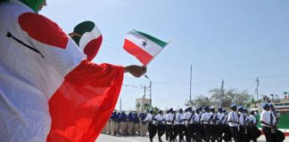 A woman waves a flag as soldiers and other military personnel of Somaliland march past during a celebration parade in the capital, Hargeisa on May 18, 2016. PHOTO | AFP
