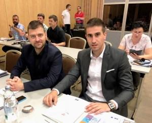 Антонио Ратковић и Бранислав Сворцан учесници Конференције испред града Сомбора