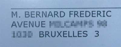une enveloppe adressée à Bernard Frédéric