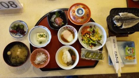 Traditional Japanese breakfast at the Ryokan