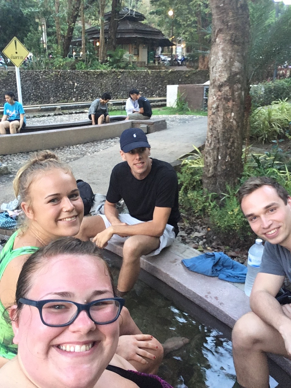 Soaking our feet in the hot springs