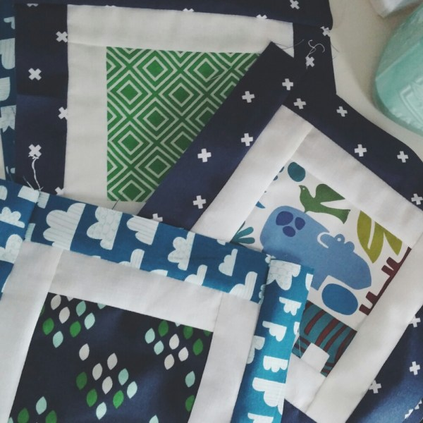 Squares Baby Boy Quilt: Bits of Progress