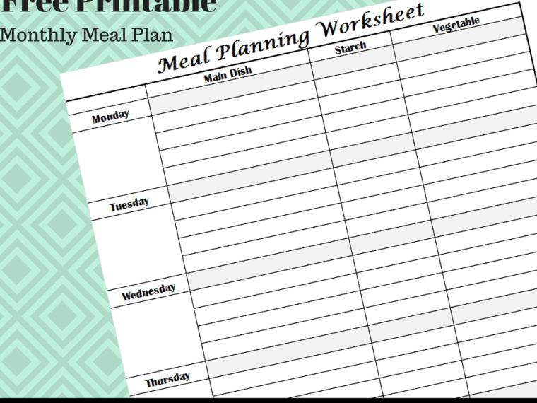 monthly meal plan, homemaking, sahm, meal plan