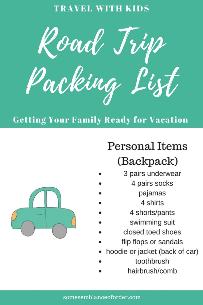 family vacation, vacation packing kids, road trip packing kids, family fun
