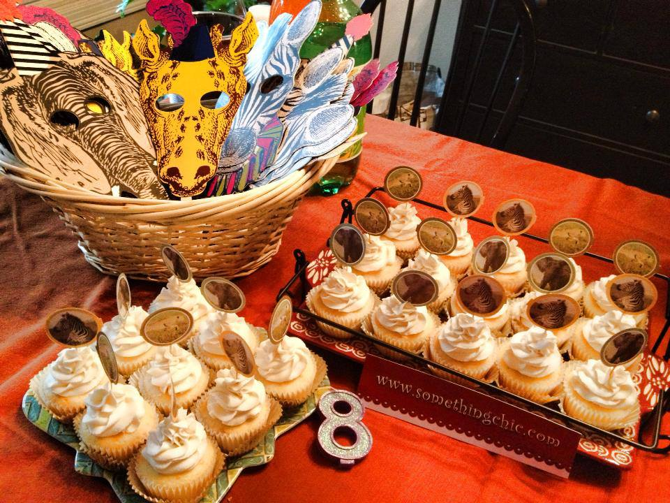 Safari Themed Birthday Cupcakes with Picks