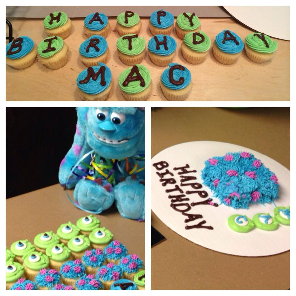 Disney Monsters Inc. Themed Birthday Cake, Smash Cake and Cupcakes