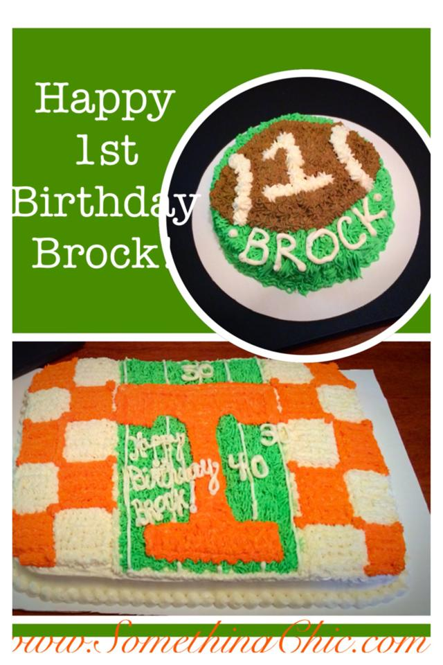 Tennessee Themed Birthday Cake, Football Smash Cake, Power T and Football Field Sheet Cake