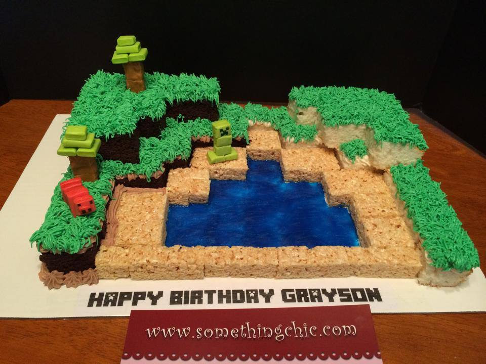 Minecraft Themed Birthday Cake with Chocolate and Vanilla Cake and Rice Krispy Treats