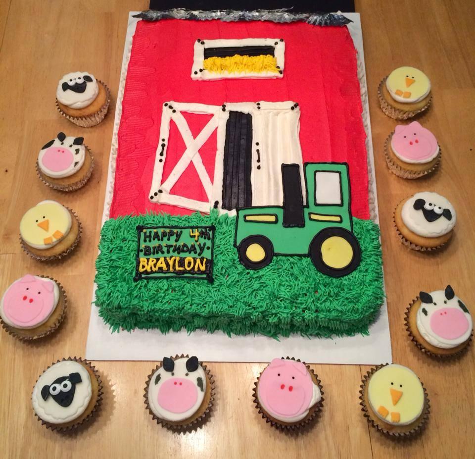 Farmyard, Tractor and Barn Birthday Cake with Fondant Animal Cupcakes