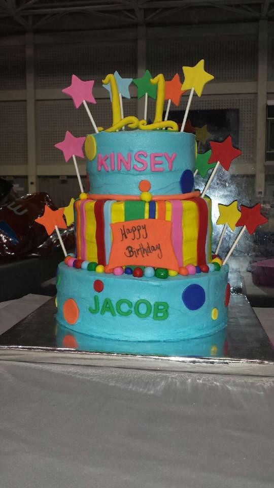 Cake of Many Colors Birthday Cake with Fondant Decor