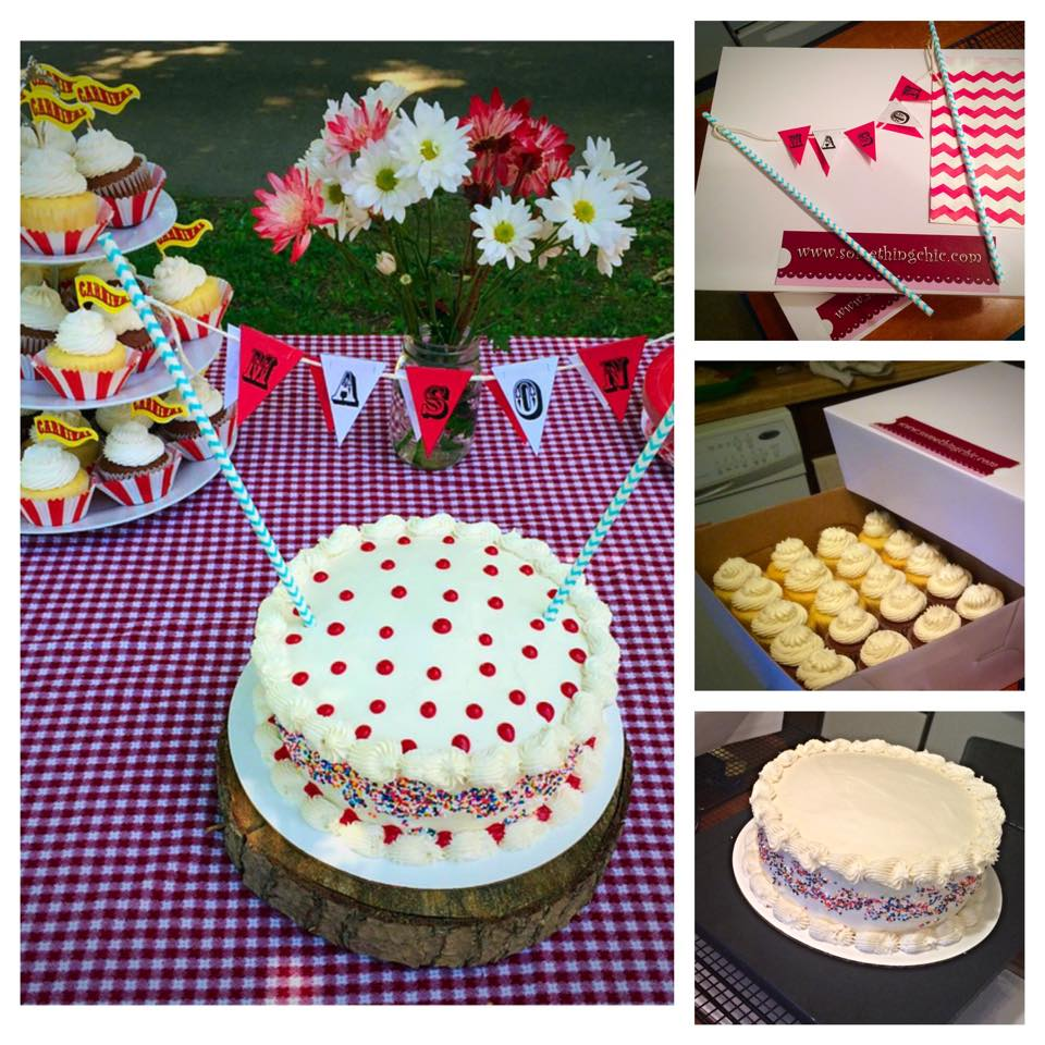 Carnival Themed Birthday Cake and Cupcakes
