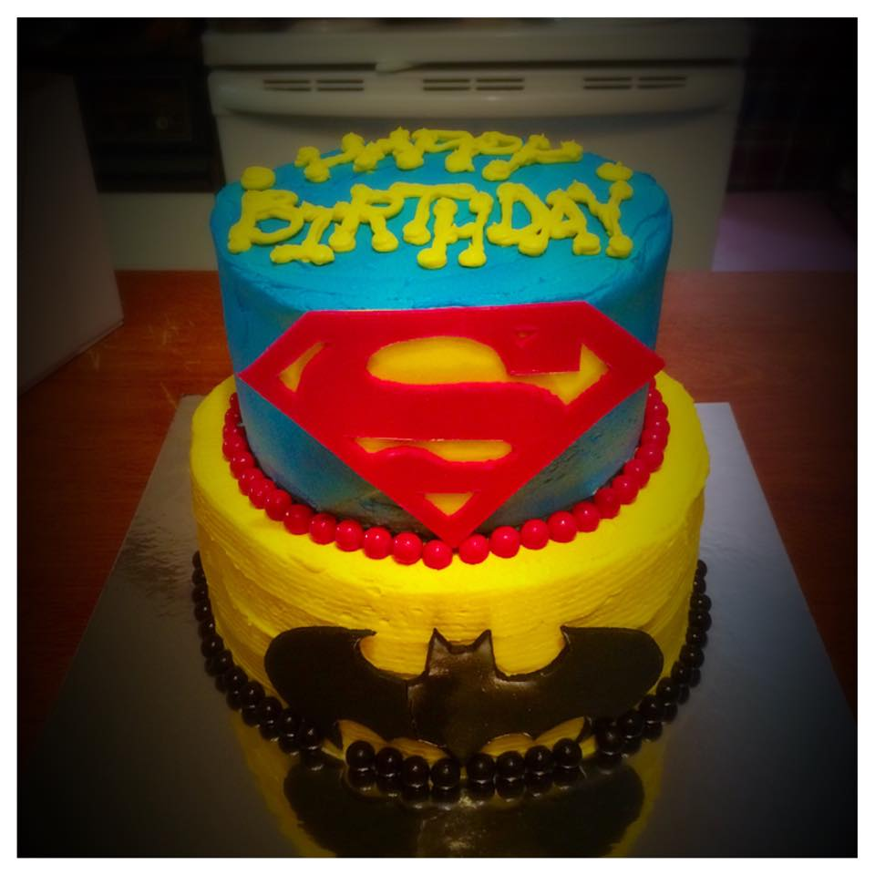 DC Comics Superman and Batman Birthday Cake