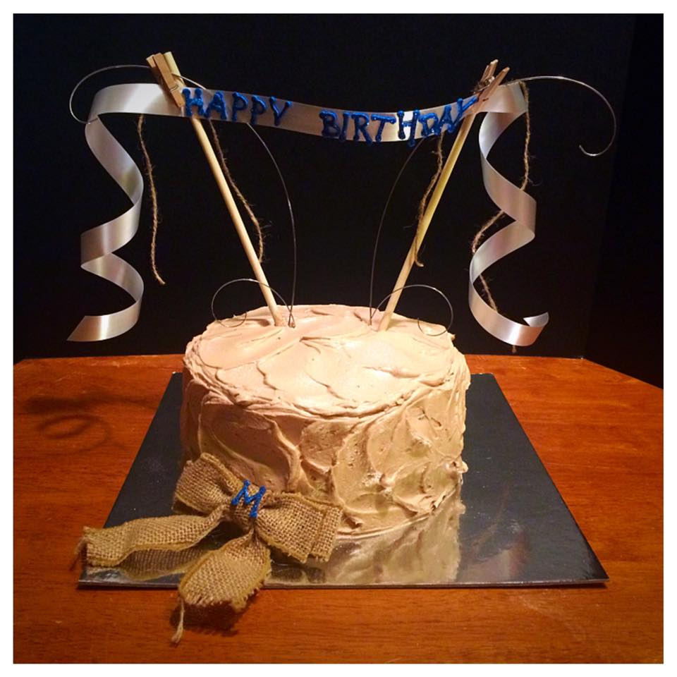 Rustic Ribbon Chocolate Birthday Cake with Ribbon Bunting