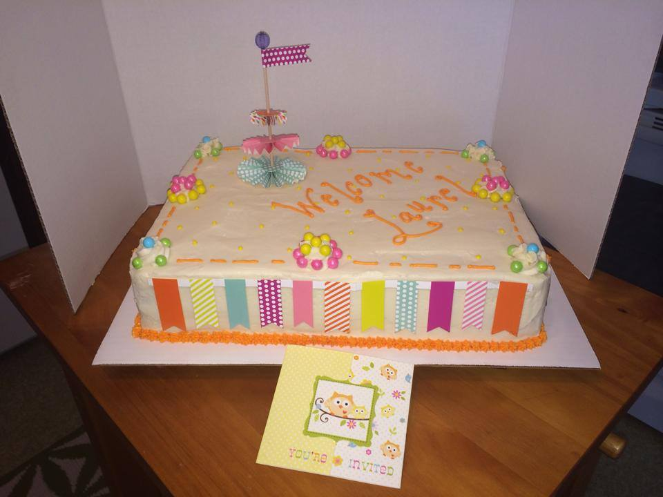 Baby Shower Cake with Paper Accents