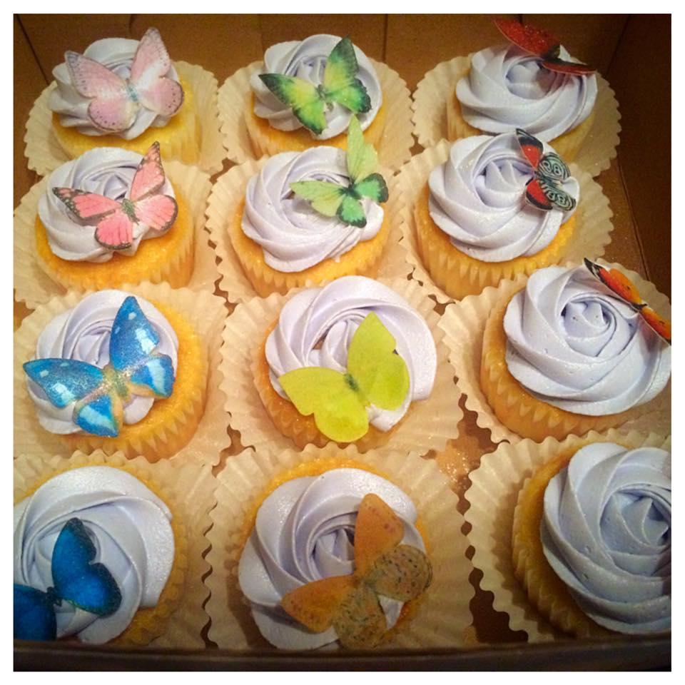 Sweet Purple Buttercream Rose Birthday Cupcakes with Edible Sugar Sheet Butterflies