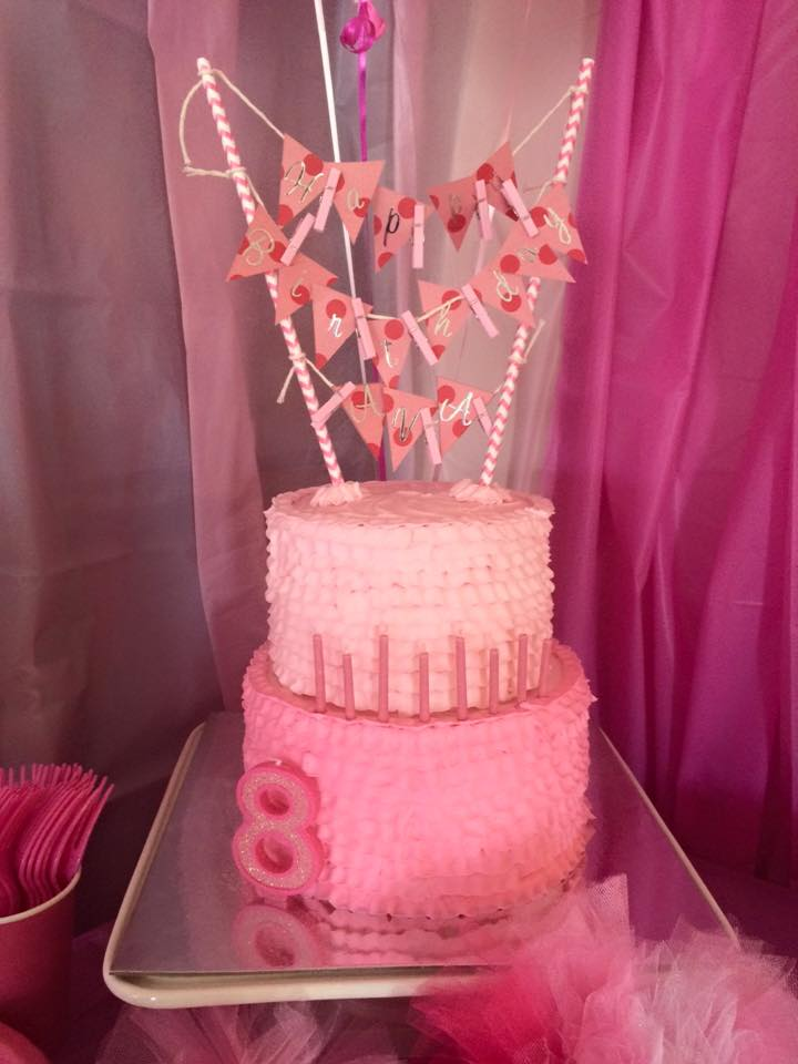 Pretty in Multicolored Pink Buttercream Ruffle Birthday Cake
