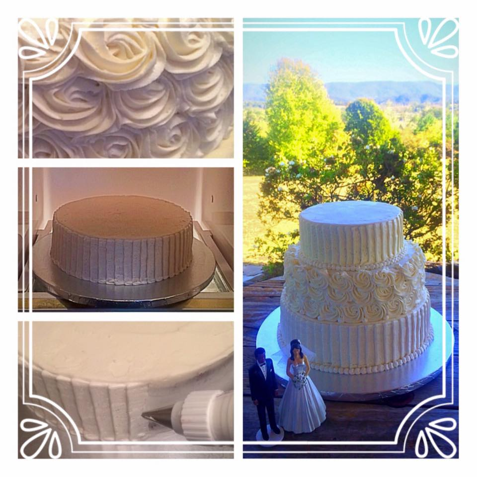 Colonial Estates Outdoor Wedding Venue featuring Textured Techniques in Pleats and Roses Buttercream Finish Frosting