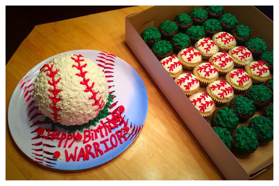 Baseball Themed Cake, Smash Cake and Cupcakes