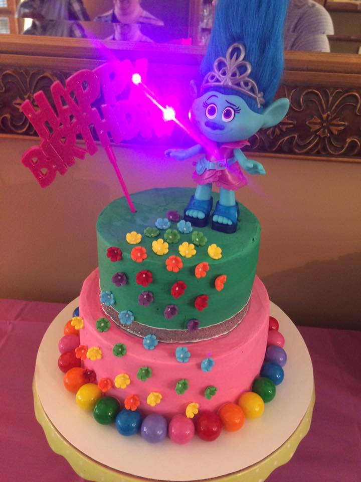 Fun Trolls Cake with Custom Tinted Buttercream Finish, Wilton Sugar Flowers, Rainbow Gumballs and a Light Up Birthday Greeting