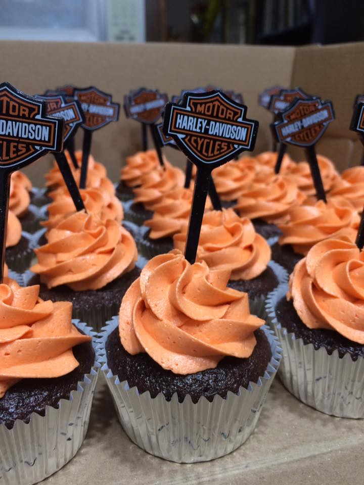 Harley Davidson Birthday Cupcakes with Official Harley Davidson Picks