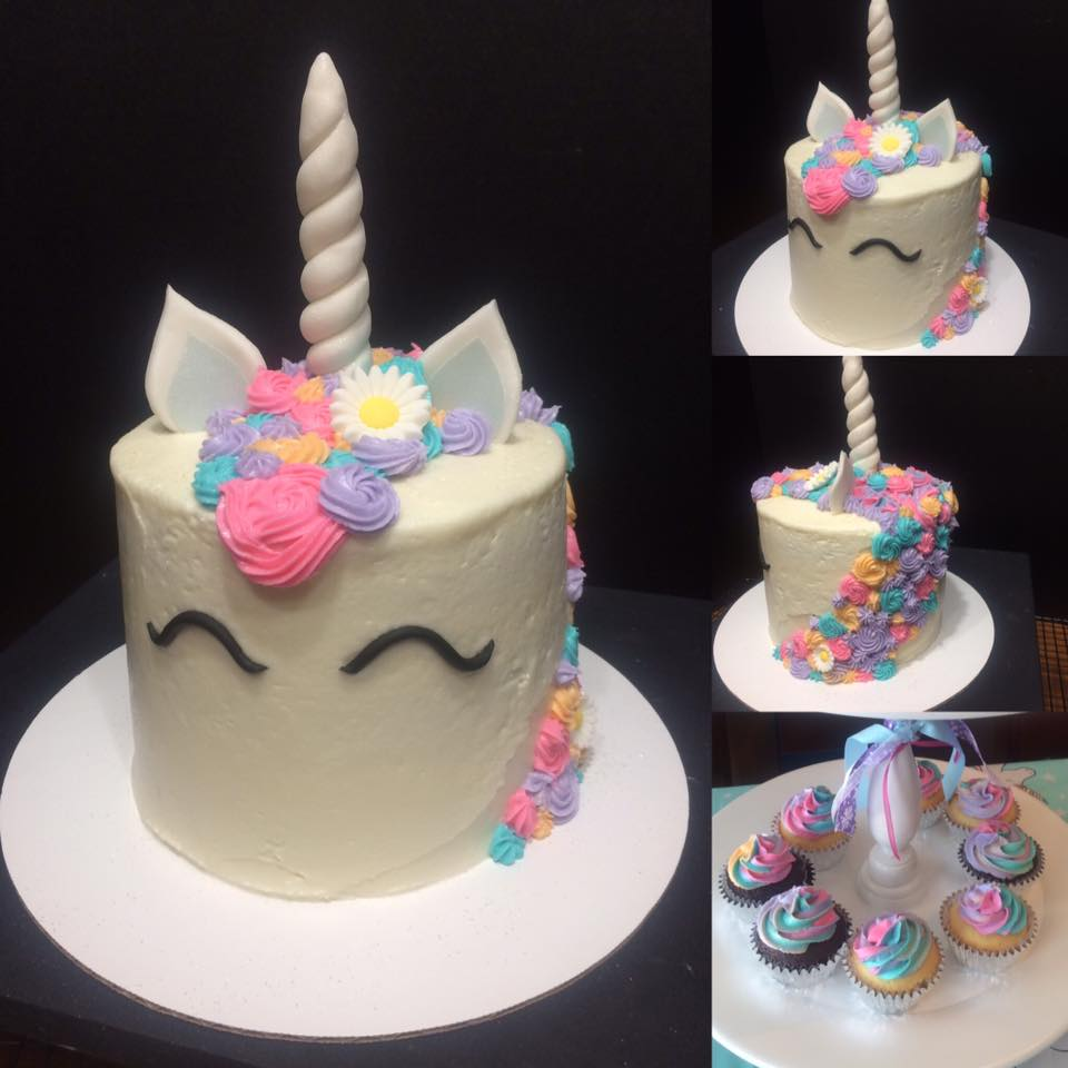 Unicorn Birthday Cake with Fondant and Buttercream Accents