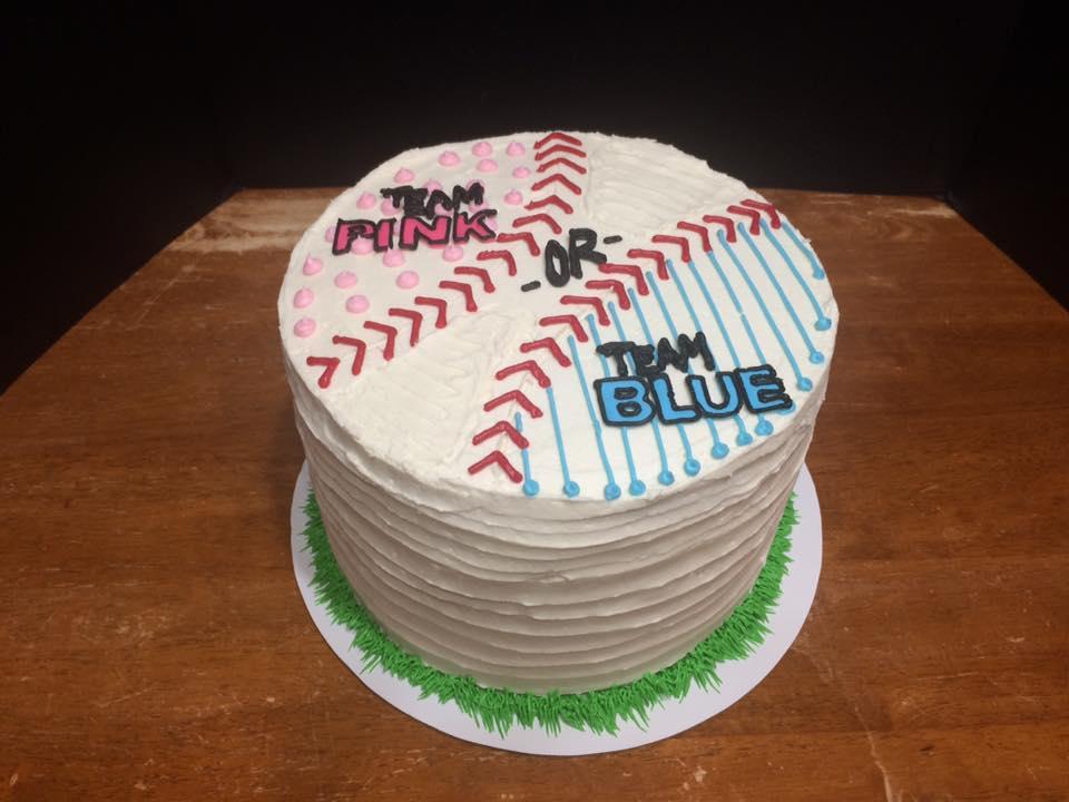 Gender Reveal Cake for a Baseball Loving Family