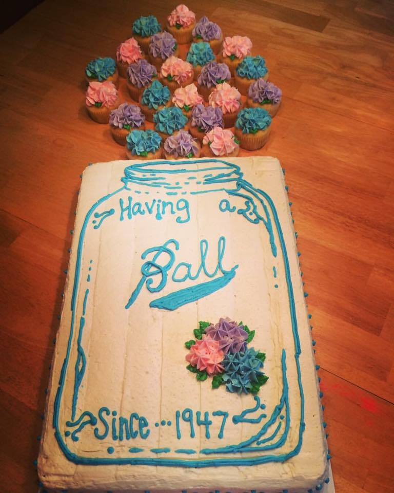 Ball Mason Jar Birthday Sheet Cake and Hydrangea Cupcakes