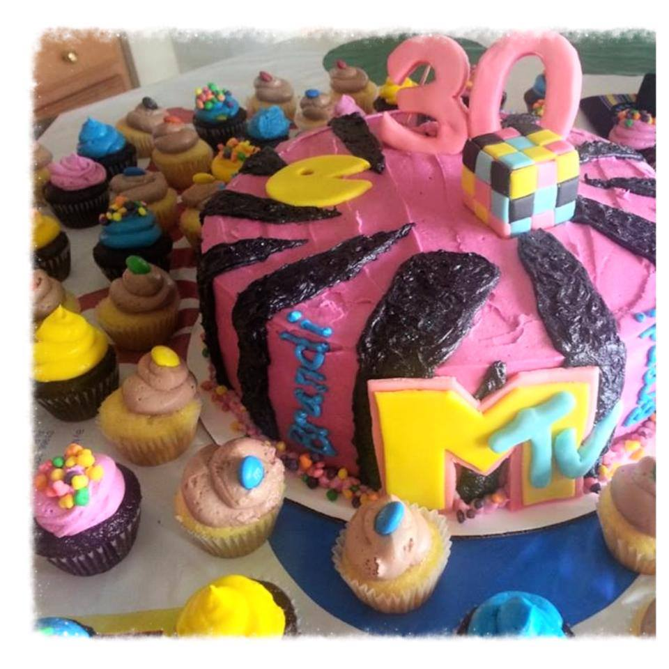 80's Themed Birthday Cake and Mini Cupcakes with MTV, Pac Man, Rubix Cube, Nerds