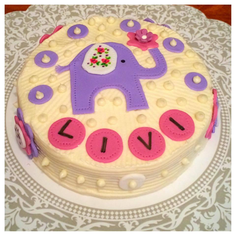 Embroidered Elephant and Flower Birthday Smash Cake