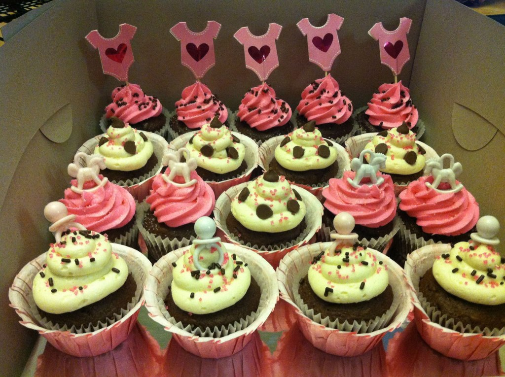 Pink, White and Brown Baby Shower Cupcakes