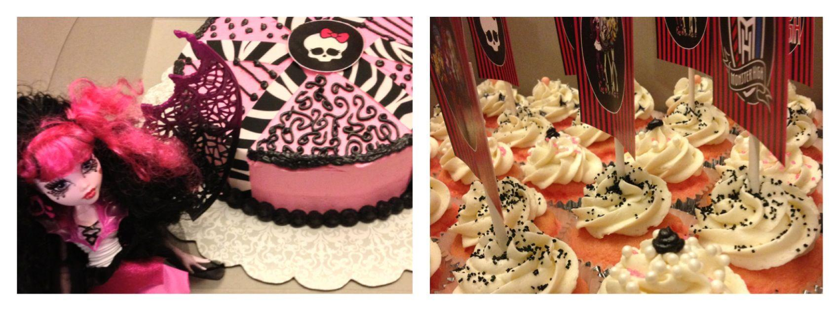 Monster High Birthday Smash Cake and Cupcakes with picks