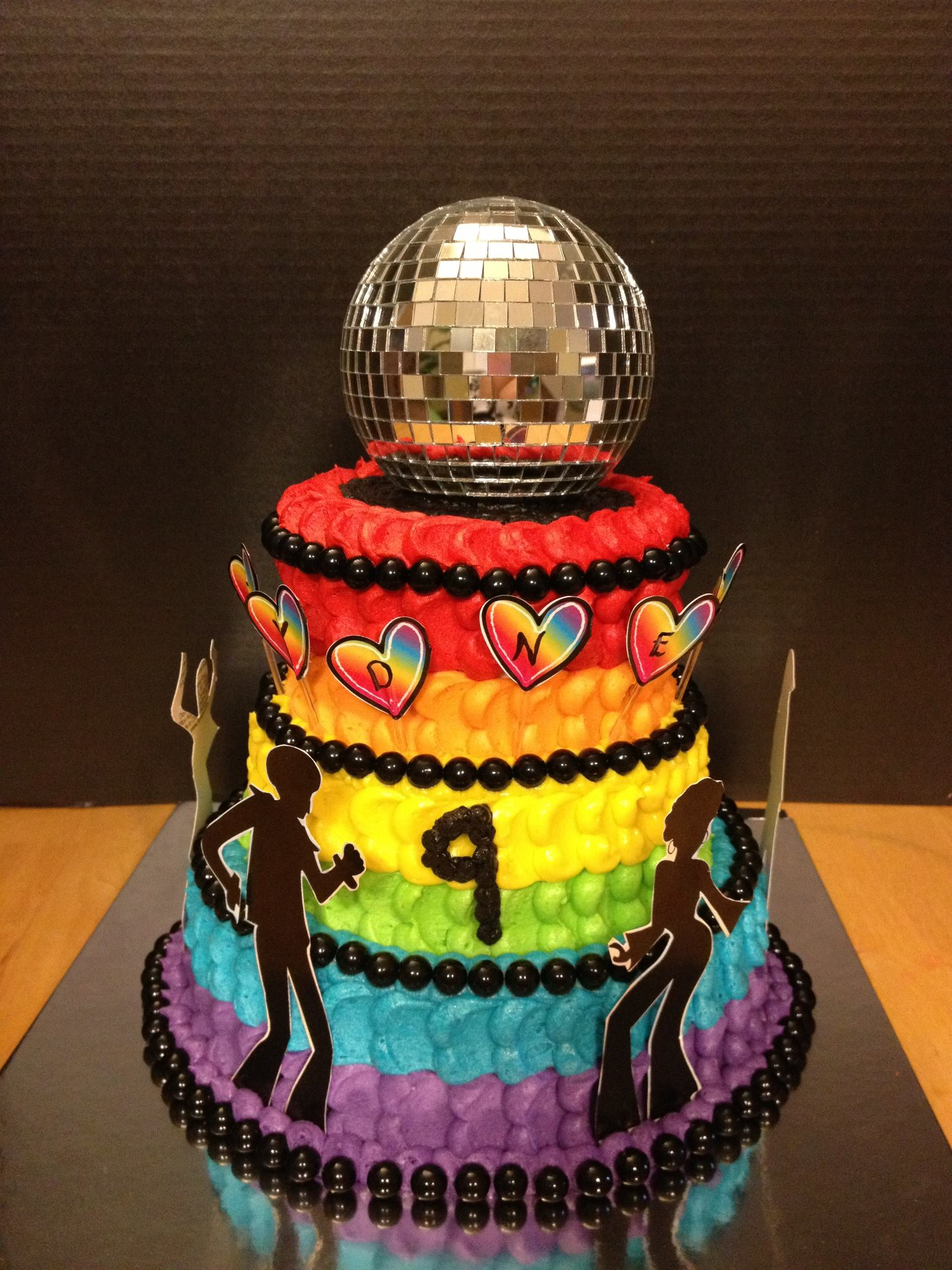 Disco Fever Themed Birthday Cake Buttercream, Sixlets & Paper Decor complete with Mirror Ball