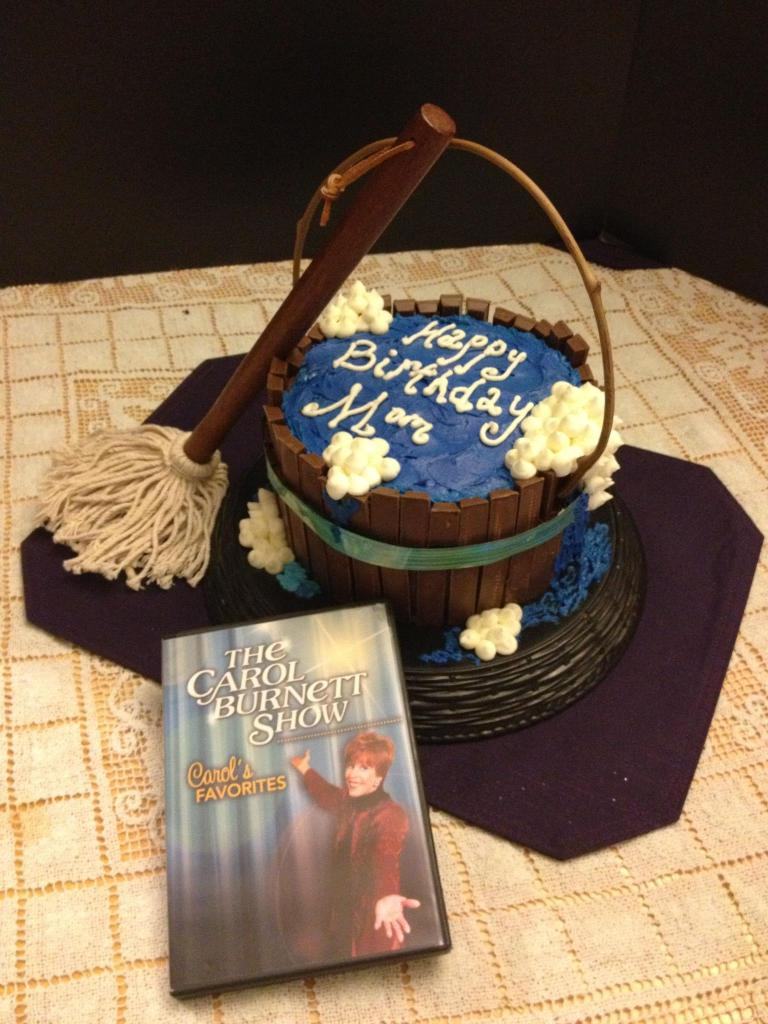 Carol Burnett Mop Bucket Birthday Cake, Kit Kat, Buttercream Water and Bubbles, BBQ Brush Mop