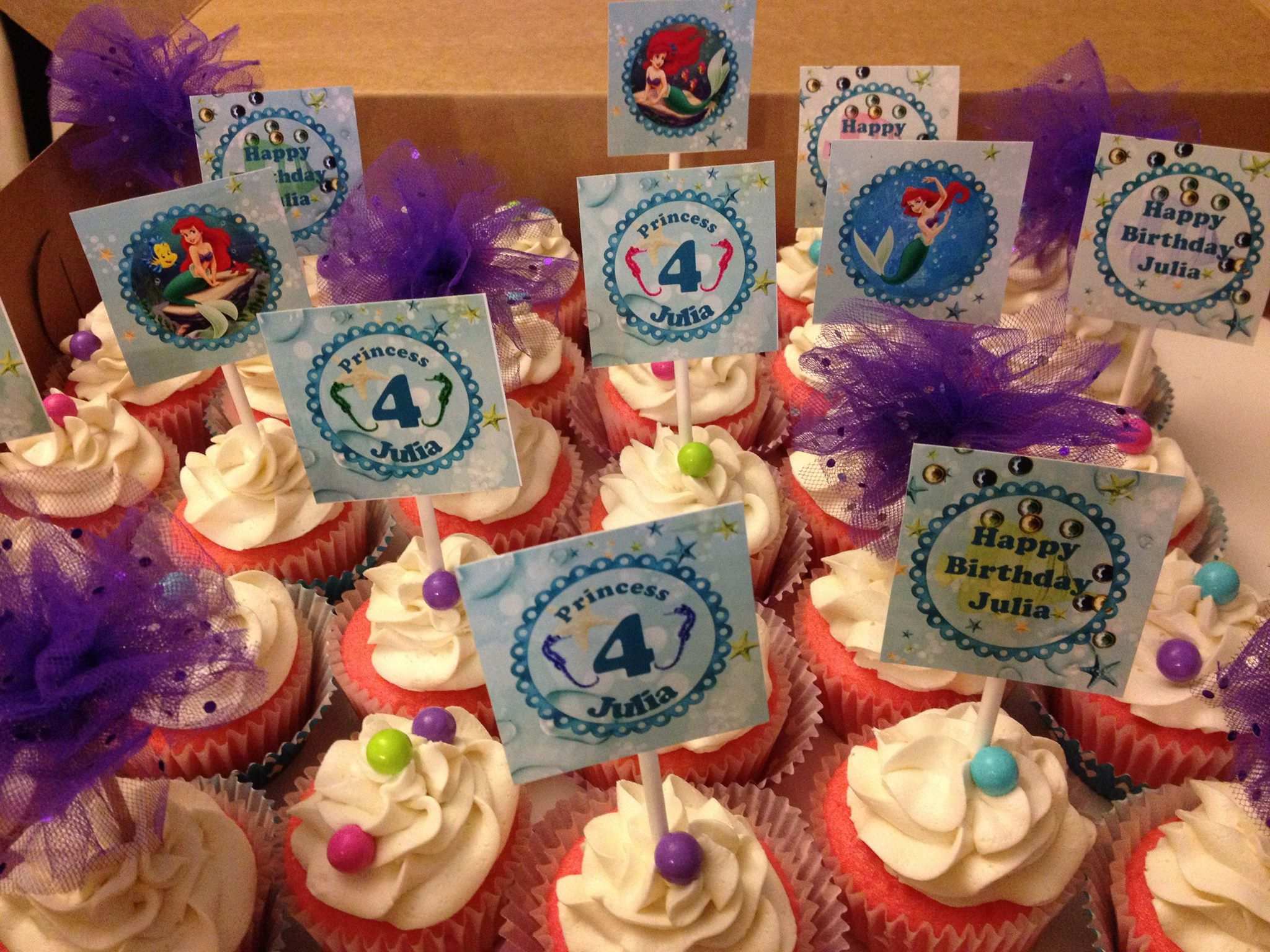 Disney Princess Ariel The Little Mermaid Cupcakes with Picks and Tulle