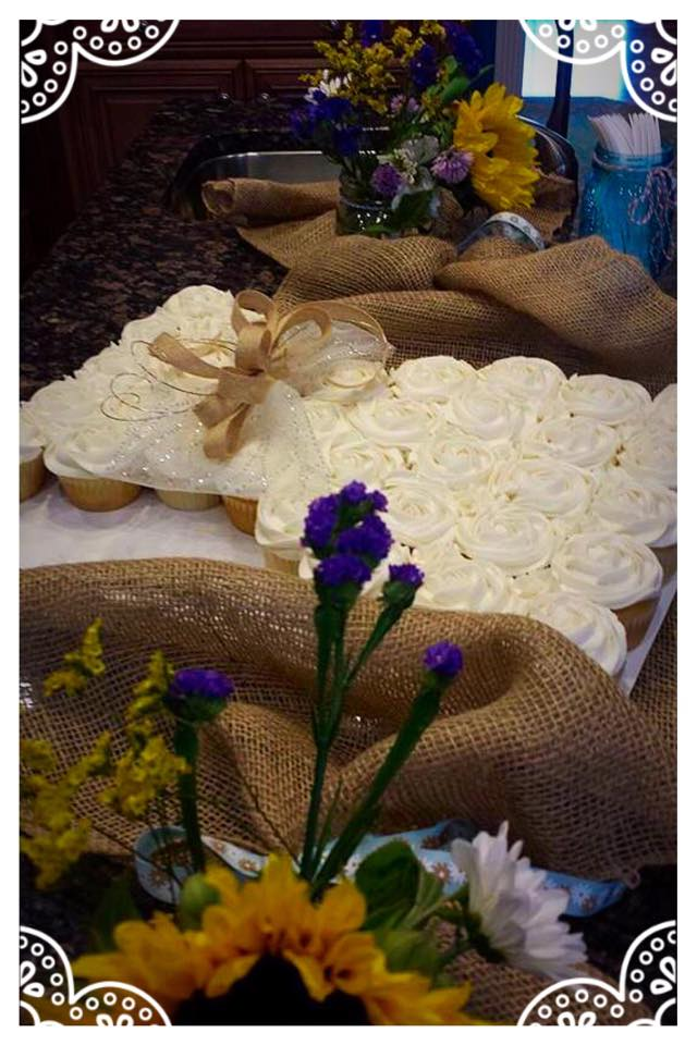 Burlap and Lace Bridal Shower Cupcake Wedding Dress
